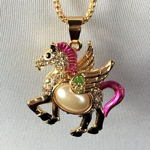 Betsey Johnson Necklace Pegasus Pink Pearl Chain